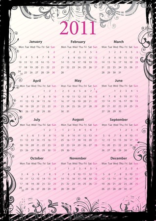 European pink floral grungy calendar 2011, starting from Mondays Vector