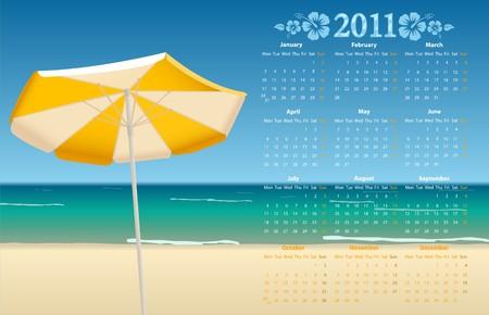 mondays: Vector European calendar 2011 with tropic beach, starting from Mondays