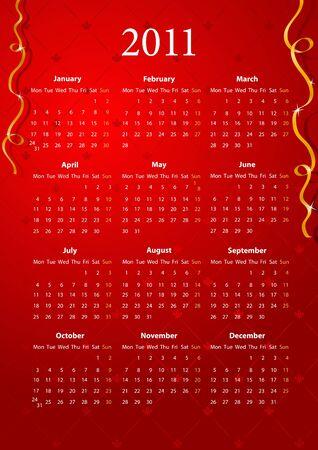 mondays: European red calendar 2011, starting from Mondays