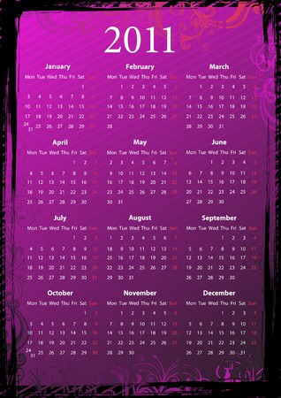 European floral pink and black grungy calendar 2011, starting from Mondays Vector