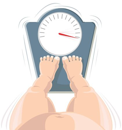 fatness: Overweight concept - fat person on the weight scale, high angle view  Illustration