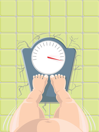 fatness: Overweight concept - fat person on the weight scale crushing the floor, high angle view  Illustration