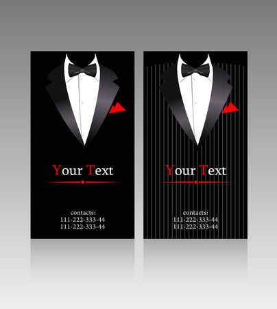 black suit: business cards with elegant suits for businessmen