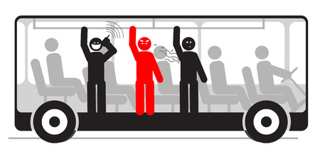 angry passenger in bus with screaming and stinky people  Vector