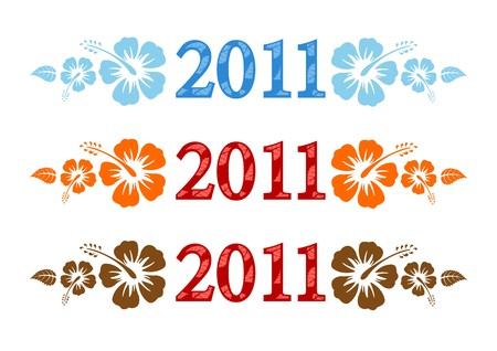 set of 2011 text with hibiscus flower on white background Фото со стока - 7552450