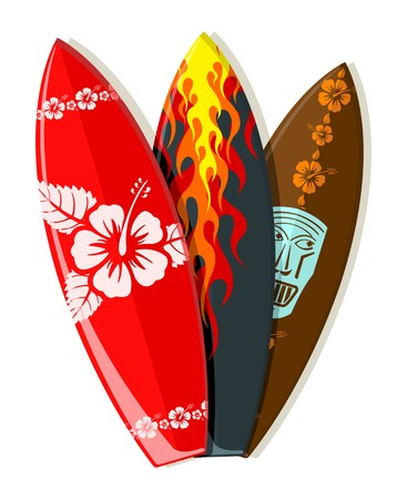 surf boards with Hawaiian patterns  Vector