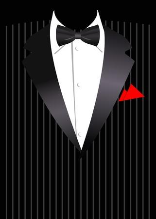 Illustrazione vettoriale di affari elegante abito con fiocco nero