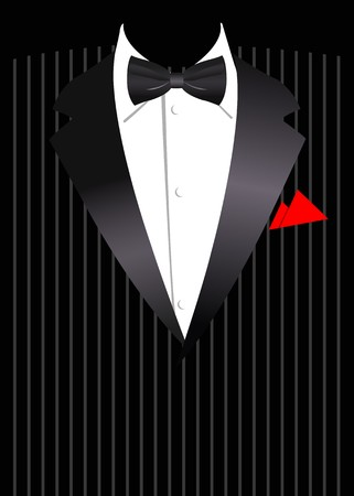 handkerchief: Vector illustration of elegant business suit with black bow
