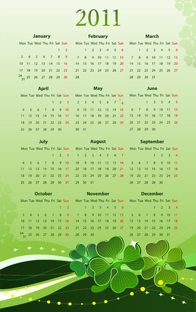 illustration of 2011 calendar for St. Patricks Day, starting from Mondays  Illustration