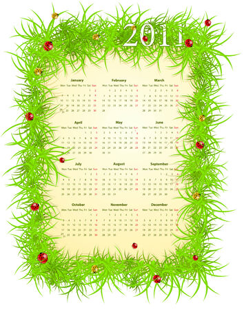 mondays:  illustration of spring 2011 calendar, starting from Mondays  Illustration