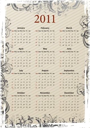 beige floral grungy American calendar 2011, starting from Sundays Stock Vector - 7693343
