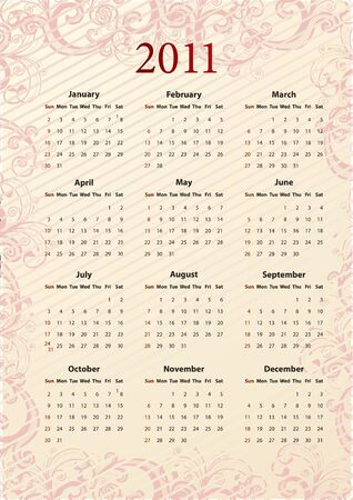 American pink floral calendar 2011, starting from Sundays Stock Vector - 7693341