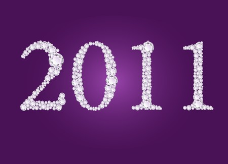 illustration of 2011 year formed from diamonds Фото со стока - 7725695