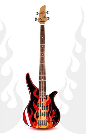 zwart bas gitaar met vlammen  Vector Illustratie