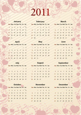 American   pink floral calendar 2011 with hearts, starting from Sundays  Stock Vector - 7725693