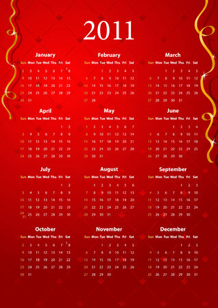 American red calendar 2011, starting from Sundays Stock Vector - 7833908