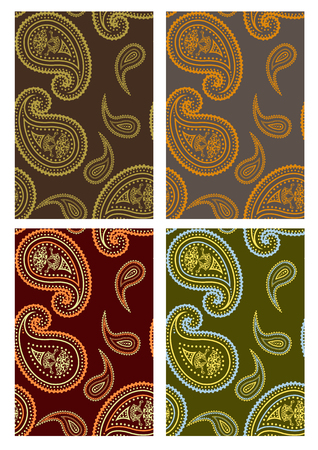 Set of seamless paisley colorful backgrounds  Vector