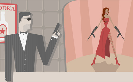 cool secret agents, man and woman  Vector