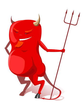 infernal:   illustration of red devil with trident