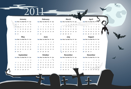 sundays:  American Halloween calendar 2011 with cemetery, full moon and bats (starting from Mondays) Illustration