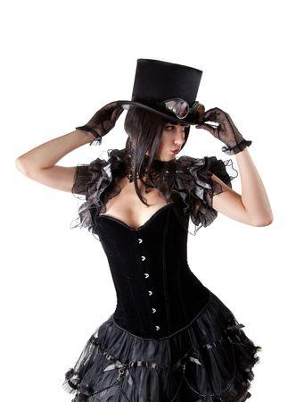 Cabaret Girl in Hut, isoliert auf weißem Hintergrund, Halloween theme  Standard-Bild