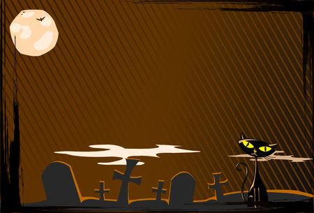 illustration of Halloween cat on cemetery  Stock Vector - 8008695