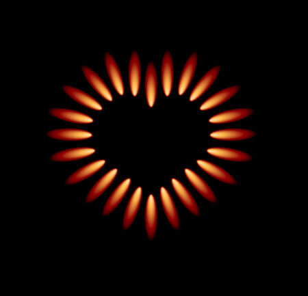gas stove with red flames forming heart Stock Vector - 8008701