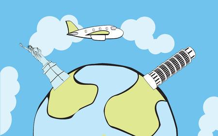 Avión volando alrededor del mundo, con hitos estilizados  Foto de archivo - 8008702
