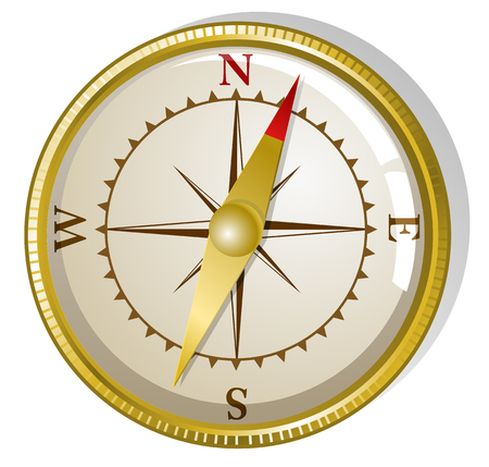 illustration of old golden compass  Vector