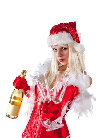Attractive Mrs. Santa with champagne, isolated on white background  Stock Photo - 8174038