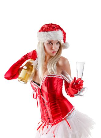 Mrs. Santa with champagne bottle and glasses, isolated on white background  photo