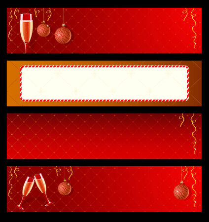 Set of vector labels with champagne and decorations for New Year  Vector