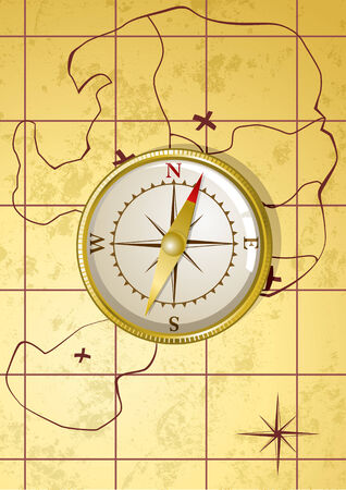 Vector illustration of golden compass on old map  Vector