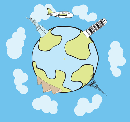 the place is outdoor: Vector airplane traveling around the globe, with stylized landmarks