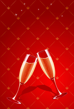 Vector champagne glasses splashing on red glamour background  Vector