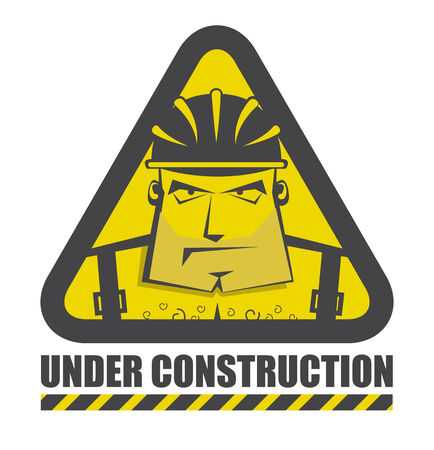warning triangle: Vector under construction icon with funny construction worker for internet site