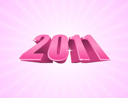Vector illustration of pink 2011 year on light pink background  Vector