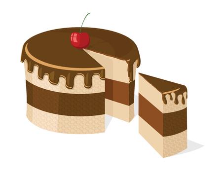gâteau au chocolat en tranches avec une délicieuse cerise pour anniversaire, mariage, etc. Vecteurs
