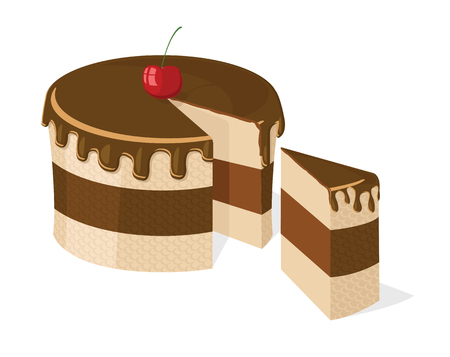 cutouts:  sliced chocolate cake with delicious cherry for birthday, wedding, etc.