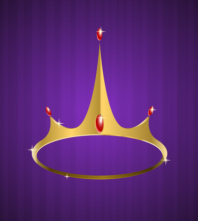 yellow crown:   golden crown with shiny diamonds on purple background  Illustration