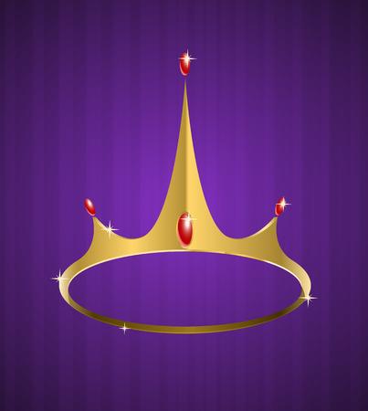 nobility symbol:   golden crown with shiny diamonds on purple background  Illustration