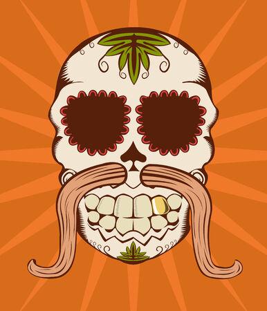 illustration of orange decorative sugar skull  Vector