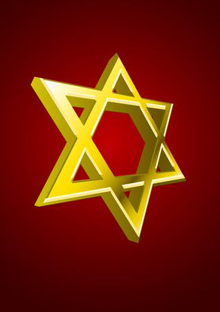 Vector golden Jewish star on red background  Vector