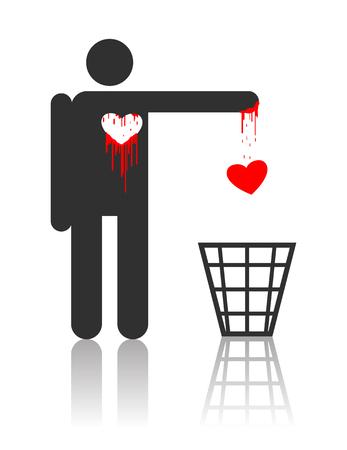 hemorragias: Car�cter de vector de tirar su coraz�n sangriento, concepto para el d�a de San Valent�n St  Vectores