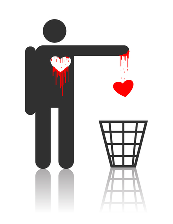 hurt: Vector character throwing out his bloody heart, concept for St. Valentines day  Illustration