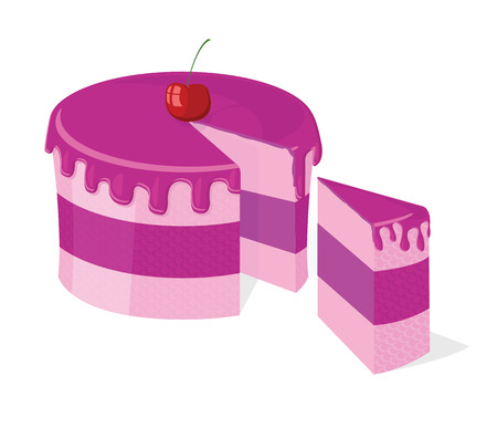 Vector sliced pink cake with delicious cherry for birthday, wedding, etc.  Иллюстрация