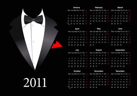 mondays: Vector European calendar with elegant suit, starting from Mondays