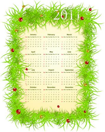 Vector illustration of American spring 2011 calendar, starting from Sundays Stock Vector - 8538980