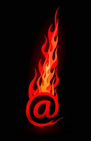 lettre de feu: Courriel de vecteur chaud en flammes, isol� sur fond noir  Illustration