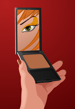 looking in mirror: Vector girl with fashion make-up looking into mirror